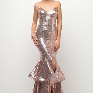 Rose-Gold Bridesmaid Leg Slit Long Dress